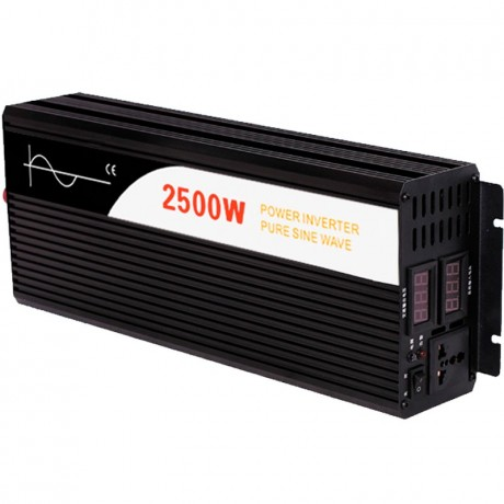 Inversor de onda pura Efitron 24V/2500W. (5000 W pico) con dos dispalys de tensión