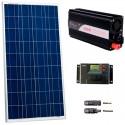 Kit fotovoltaico aislada 550 Wh/día, 230V/300W onda pura (Pot.: 160 Wp). Vbatería: 12V