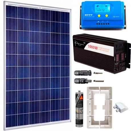 Kit fotovoltaico aislada 730 Wh/día, 230V/1000W onda pura (Pot.: 250 Wp) Caravana