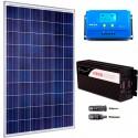 Kit fotovoltaico aislada 900 Wh/día, 230V/1000W onda pura (Pot.: 275 Wp). Pantalla. Vbatería: 12V