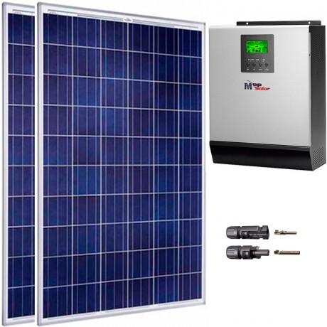 Kit fotovoltaico aislada 1485 Wh/día, 230V/1200W con cargador 60A (Pot.: 500 Wp).