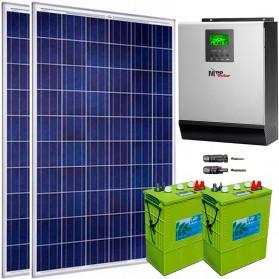 Kit fotovoltaico aislada 1485 Wh/día, 230V/1200W con cargador 60A (Pot.: 500 Wp). Baterías