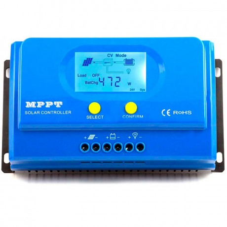 Regulador con display MPPT puro 12/24V.20A. Vmax: 100V. Y-SOLAR-20A