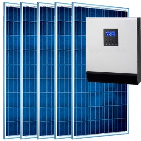 Kit fotovoltaico aislada 2345Wh/día, 230V/800W con cargador 20A (Pot.: 750 Wp).