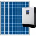 Kit fotovoltaico aislada 2950Wh/día, 230V/2400W con cargador 30A (Pot.: 900 W) Vbatetía: 24V.