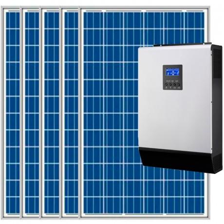 Kit fotovoltaico aislada 5160Wh/día, 230V/2400W con cargador 30A (Pot.: 1500) Vbatetía: 24V.