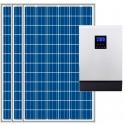 Kit fotovoltaico aislada 3900Wh/día, 230V/4000W con cargador 30A (Pot.: 1200 Wp) Vbatetía: 48V.