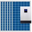 Kit fotovoltaico aislada 5900Wh/día, 230V/4000W con cargador 30A (Pot.: 1800 Wp) Vbatetía: 48V.