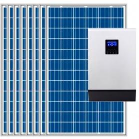 Kit fotovoltaico aislada 8100Wh/día, 230V/4000W con cargador 30A (Pot.: 2400 Wp) Vbatetía: 48V.