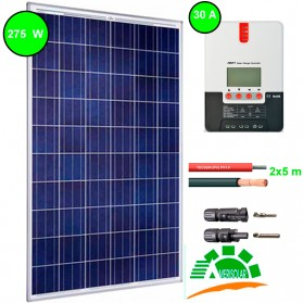 Kit fotovoltaico aislada 730 Wh/día. Potencia.: 250 Wp y regulador MPPT con display