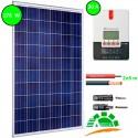 Kit fotovoltaico aislada 900 Wh/día. Potencia.: 275 Wp y regulador MPPT con display de 30 A. Vbatería: 12V