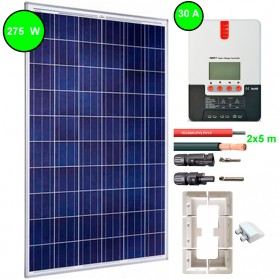 Kit fotovoltaico aislada 900 Wh/día. Potencia.: 275 Wp y regulador MPPT con display de 30 A