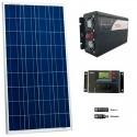 Kit fotovoltaico aislada 540 Wh/día, 230V/1000W onda pura (Pot.: 160 Wp). Vbatería: 12V