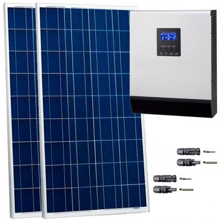 Kit fotovoltaico aislada 850 Wh/día, 230V/800W con regulador PWM de 50 A. Potencia: 320 Wp (2x160 Wp)