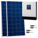 Kit fotovoltaico aislada 850 Wh/día, 230V/800W con regulador PWM de 50 A. Potencia: 320 Wp (2x160 Wp). Vbatería: 12V