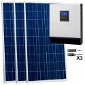 Kit fotovoltaico aislada 1275 Wh/día, 230V/800W con regulador PWM de 50 A. Potencia: 480 Wp (3x160 Wp). Vbatería: 12V