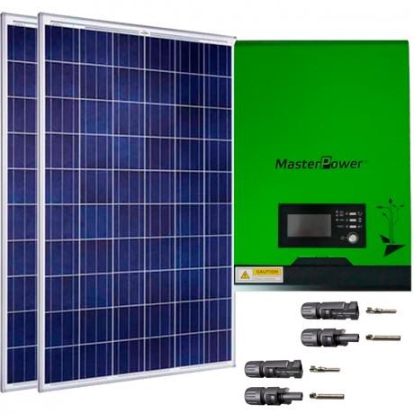 Kit fotovoltaico aislada 1700Wh/día, 230V/1000W con cargador 20A (Pot.: 550 Wp). Vbatería: 12V